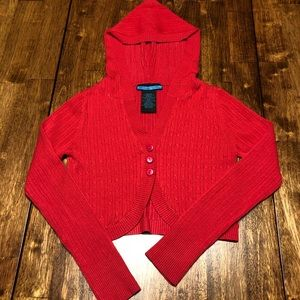 Spunky Red Cropped Button Up Cardigan sz 10/12